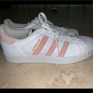 superstar adidas peach color shoes